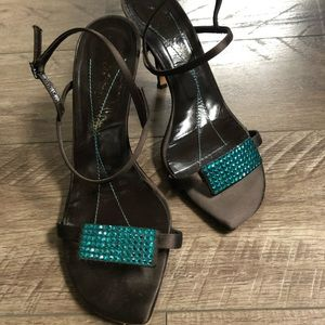 Authentic Kate Spade brown satin crystal shoes 10